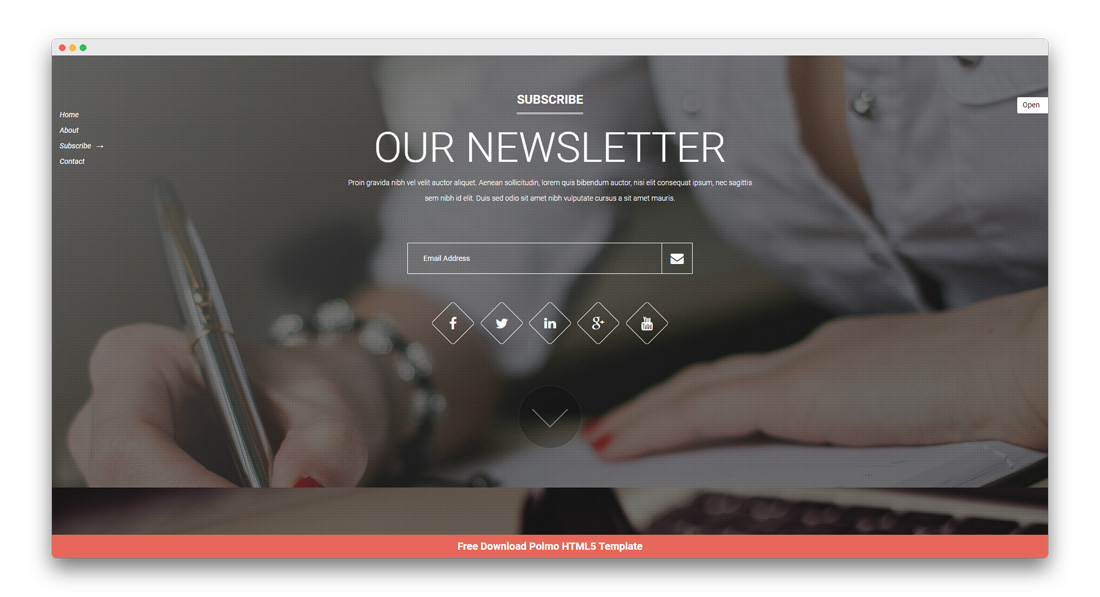 Newsletter section for Coming Soon Template
