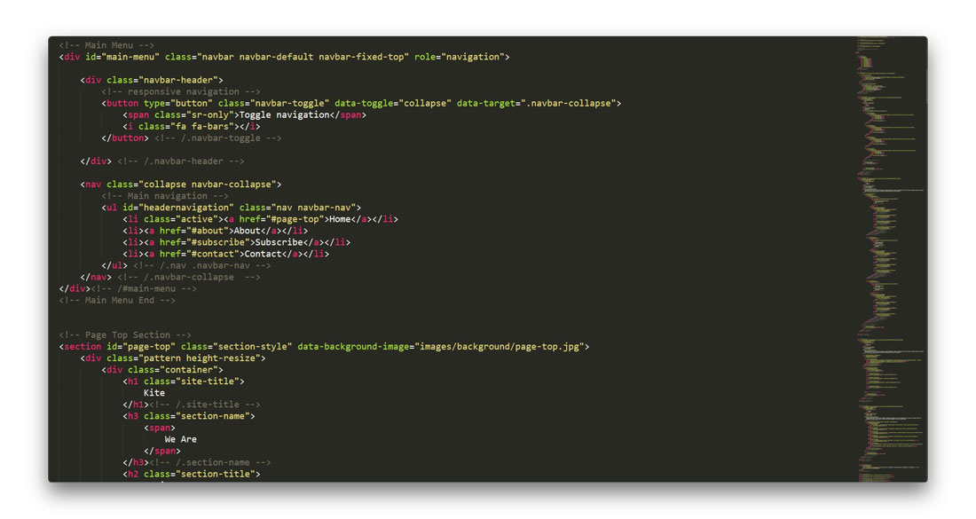 code structure for Kite Template