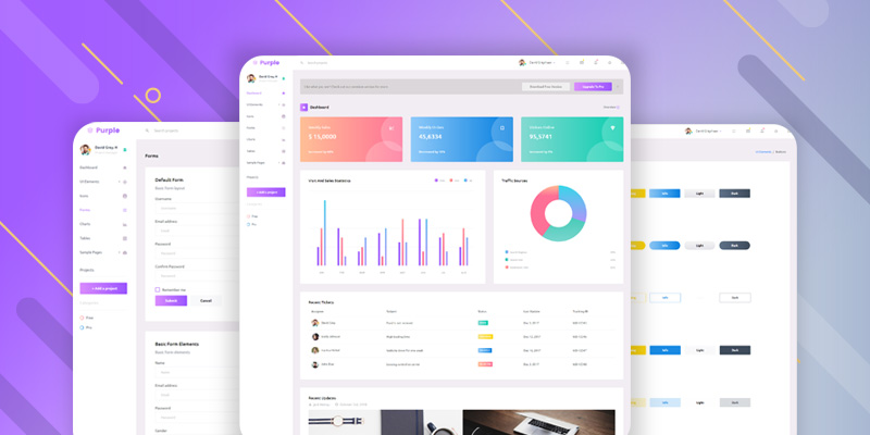 purple admin free Dashboard Template
